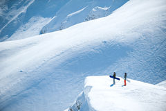 Snowboarding in the mountains landscape Stock Image