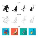 Snowboarding, navegando surfar, patinagem artística, kayaking Os esportes olímpicos ajustaram ícones da coleção no vetor do estil ilustração stock