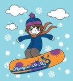 Snowboarding no céu Fotografia de Stock
