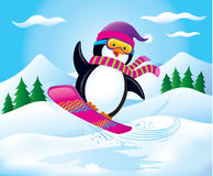 Snowboarding Penguin In The Air. Cartoon illustration of a cute penguin wearing a knit cap, knit scarf, and snow goggles catching some air while snowboarding on Stock Images