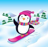 Snowboarding Penguin Royalty Free Stock Images