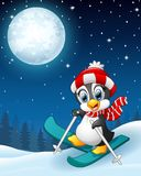 Snowboarding penguin cartoon in the winter night background Royalty Free Stock Images