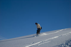 Snowboarding on powder snow stock photo Royalty Free Stock Photography