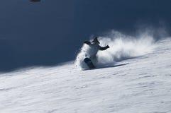 Snowboarding powder in Valle Nevado. Ski resort Royalty Free Stock Images