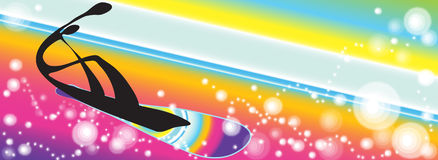 Snowboarding rainbow background Royalty Free Stock Photography