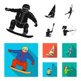 Snowboarding, sailing surfing, figure skating, kayaking. Olympic sports set collection icons in black, flat style vector. Symbol stock illustration Stock Photography