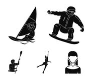Snowboarding, sailing surfing, figure skating, kayaking. Olympic sports set collection icons in black style vector. Symbol stock illustration Stock Images