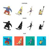 Snowboarding, sailing surfing, figure skating, kayaking. Olympic sports set collection icons in cartoon,black,flat style. Vector symbol stock illustration Royalty Free Stock Images