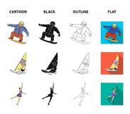 Snowboarding, sailing surfing, figure skating, kayaking. Olympic sports set collection icons in cartoon,black,outline. Flat style vector symbol stock Royalty Free Stock Images