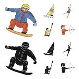 Snowboarding, sailing surfing, figure skating, kayaking. Olympic sports set collection icons in cartoon,black style. Vector symbol stock illustration Royalty Free Stock Photo