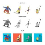Snowboarding, sailing surfing, figure skating, kayaking. Olympic sports set collection icons in cartoon,flat,monochrome. Style vector symbol stock illustration Royalty Free Stock Photo