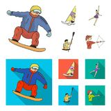 Snowboarding, sailing surfing, figure skating, kayaking. Olympic sports set collection icons in cartoon,flat style. Vector symbol stock illustration Royalty Free Stock Images