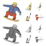 Snowboarding, sailing surfing, figure skating, kayaking. Olympic sports set collection icons in cartoon,monochrome style. Vector symbol stock illustration Royalty Free Stock Images
