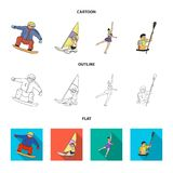 Snowboarding, sailing surfing, figure skating, kayaking. Olympic sports set collection icons in cartoon,outline,flat. Style vector symbol stock illustration Stock Photo