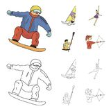 Snowboarding, sailing surfing, figure skating, kayaking. Olympic sports set collection icons in cartoon,outline style. Vector symbol stock illustration Royalty Free Stock Photo