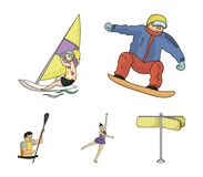 Snowboarding, sailing surfing, figure skating, kayaking. Olympic sports set collection icons in cartoon style vector. Symbol stock illustration Stock Photos