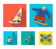 Snowboarding, sailing surfing, figure skating, kayaking. Olympic sports set collection icons in flat style vector symbol. Stock illustration Stock Photography