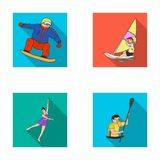 Snowboarding, sailing surfing, figure skating, kayaking. Olympic sports set collection icons in flat style vector symbol Stock Image