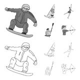 Snowboarding, sailing surfing, figure skating, kayaking. Olympic sports set collection icons in outline,monochrome style. Vector symbol stock illustration Stock Photo