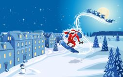 Snowboarding Santa Claus royalty free illustration