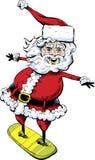 Snowboarding Santa Claus Cartoon. A cartoon Santa Claus balancing on a snowboard with a happy, jolly smile Stock Images