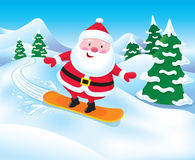 Snowboarding Santa Claus Royalty Free Stock Photography