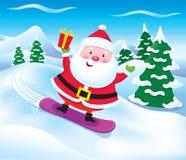 Snowboarding Santa Claus med gåva Fotografering för Bildbyråer