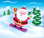 Snowboarding Santa Claus with Present Stock Image