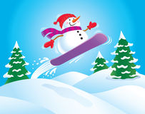 Snowboarding-Schneemann Lizenzfreies Stockfoto