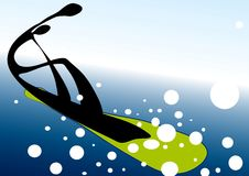 Snowboarding shadow man symbol Royalty Free Stock Photo