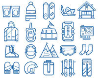Snowboarding and Skiing Icons Royalty Free Stock Image