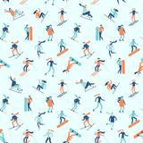 Snowboarding and skiing seamless pattern. Winter sport activities, young people on ski or snowboard vector background stock illustration