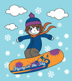 Snowboarding in the Sky Stock Photography