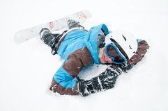 Snowboarding in snow storm Stock Photography