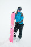Snowboarding in snow storm Royalty Free Stock Images
