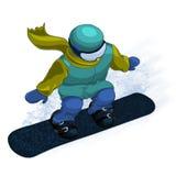snowboarding Snowboarder Ilustração gráfica tirada mão Imagens de Stock