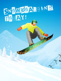 Snowboarding. Snowboarder in jump and flight. Stock Images