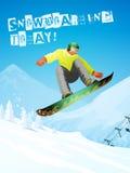 snowboarding Snowboarder w skoku i locie Obrazy Stock