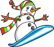 Snowboarding Snowman Vector Royalty Free Stock Photos