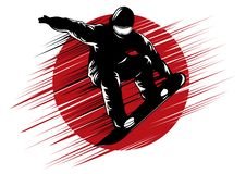 Snowboarding stylized symbol, vector silhouette, logo or emblem template royalty free stock photo
