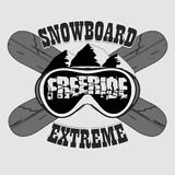 Snowboarding T-shirt, winter sport emblem, vector Royalty Free Stock Photos
