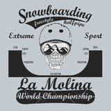 Snowboarding T-shirt, winter sport emblem, vector Royalty Free Stock Photography