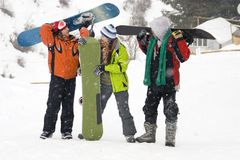 Snowboarding team, health lifestyle Royalty Free Stock Images