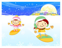 Snowboarding to play boys and girls Stock Images