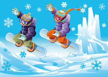 Snowboarding together. Stock Photography