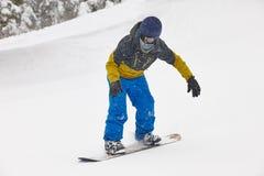 Free Snowboarding Under The Snow. Ski Slope. Winter Mountain Landscape Stock Photo - 136858320