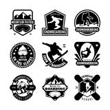 SNOWBOARDING Vector Icons 28. Here is an awesome set of sports badges that you are sure to find very useful. Hope you really enjoy using them Royalty Free Stock Photos