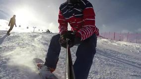 Snowboarding. Very nice footage of people playing snowboard stock footage