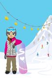 Snowboarding woman, in ski slope Stock Photo