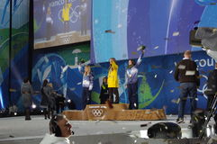 Snowboarding women's half pipe competition medalists royalty free stock photography